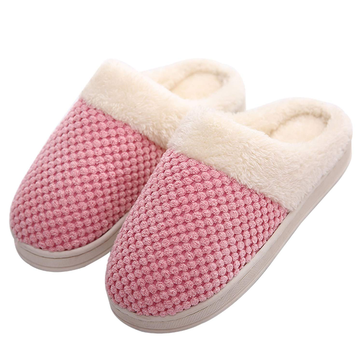 Women's Memory Foam Slippers Plush Lining Slip-On Clog Indoor Slippers House Shoes,Pink 40-41