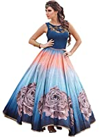 Aarvicouture Women's Gown Latest Party Wear Designer Banglori silk Embroidery Semi Stitched Free Size Salwar Suit Dress Material Available On Sale