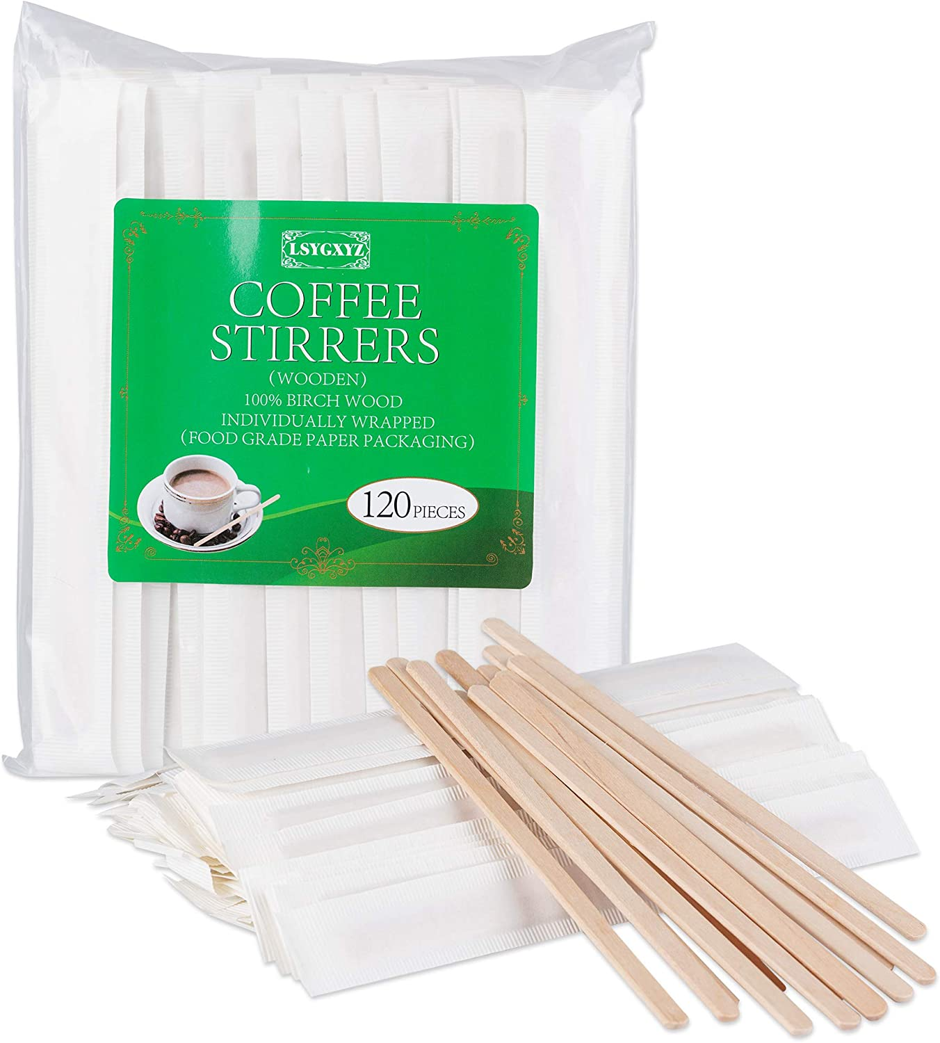 LSYGXYZ 5.5 Inch Disposable Coffee Stirrers, Individual Wrapped Wooden Stir Sticks Round Head Juice Beverage Stirrers, 120 Pieces