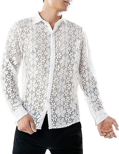Camisa De Manga Larga para Hombre Tops De Encaje Camisa Casual Moda Completi De Corte Slim para Hombre Camisa Blusa Clásica Camiseta De Manga Larga: Amazon.es: Ropa y accesorios