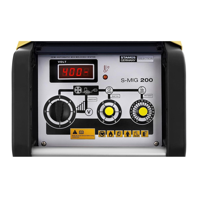 Stamos Germany S-MIG 200 Soldadora de Hilo Inverter Equipo de Soldadura MIG MAG (220 A, 400 V, Ciclo de Trabajo 35 %, Punteado): Amazon.es: Bricolaje y ...