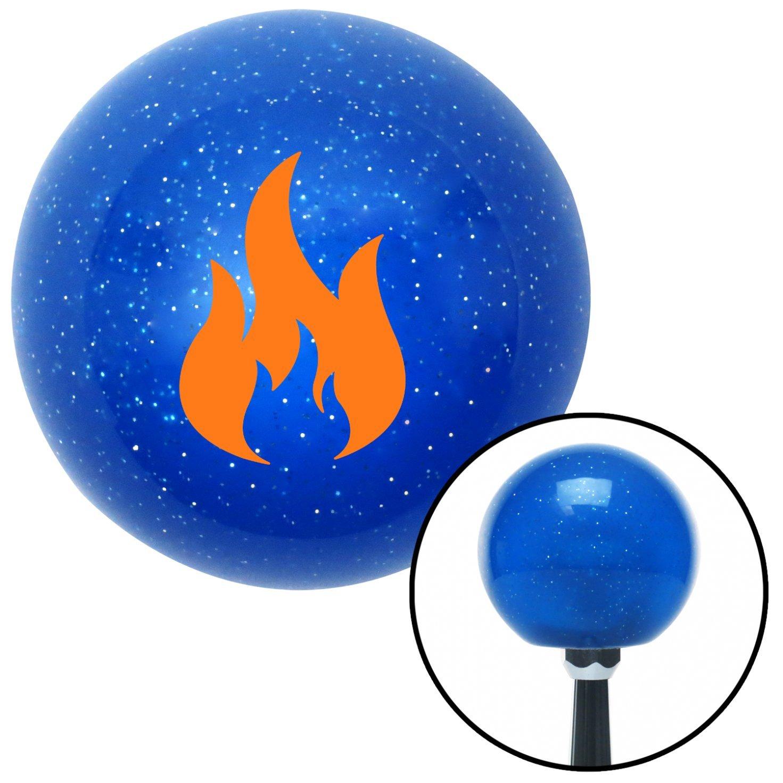 American Shifter 23401 Blue Metal Flake Shift Knob Orange Flames