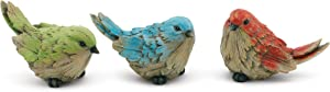 Napco Ruffled Birds Muted Primaries 4.25 x 2.5 Resin Garden Figurines, Set of 3
