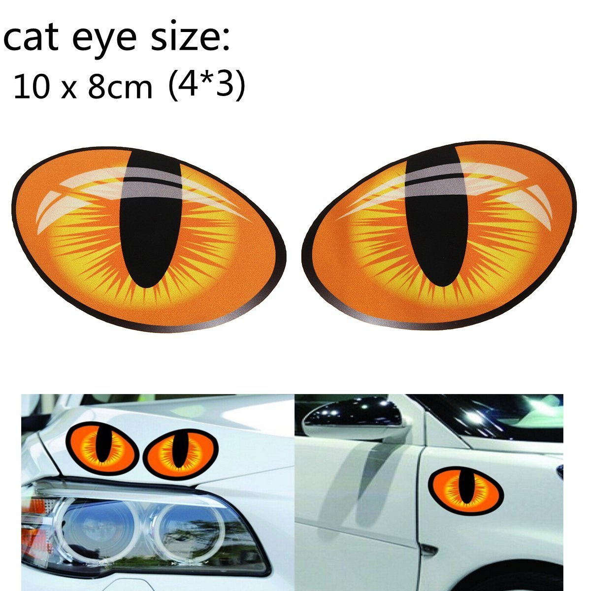 MONNY 108cm 3D Funny Reflective Cat Eyes Car Stickers Truck Window Door Decal Graphics Sticker Decals On Cars Rearview Mirror Head