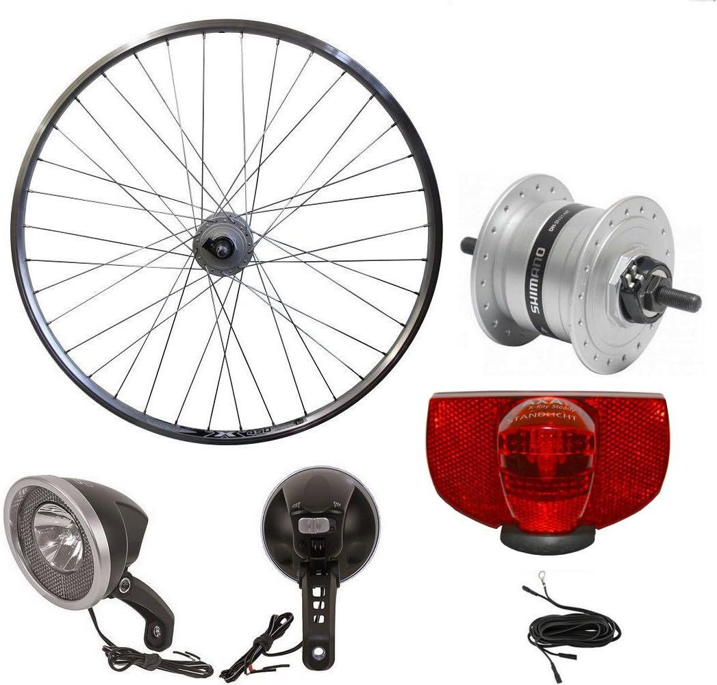 71.12 cm rueda delantera de bicicleta Shimano nabendynamo sanimiz con luz delantera, trasera y dinamo cable: Amazon.es: Deportes y aire libre