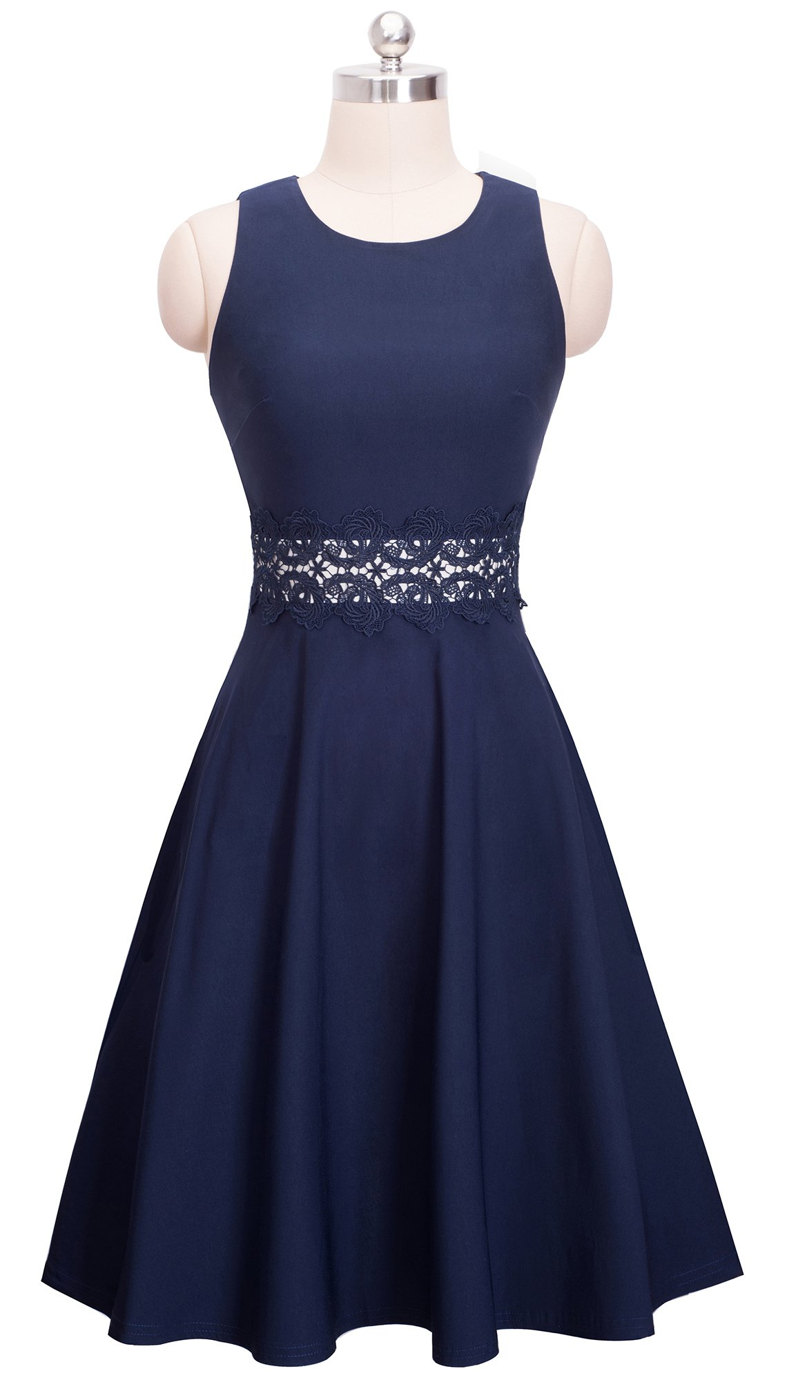HOMEYEE Women's Sleeveless Cocktail A-Line Embroidery Party Summer Dress A079 (8, Dark Blue) by HOMEYEE (Image #2)