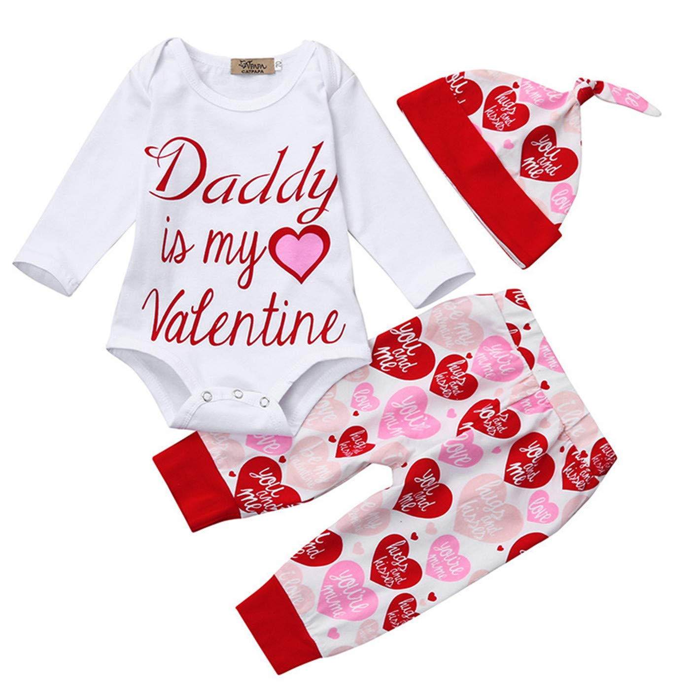 900e9c5bf Amazon.com  Newborn Baby Girls Outfit Valentine s Day Romper ...