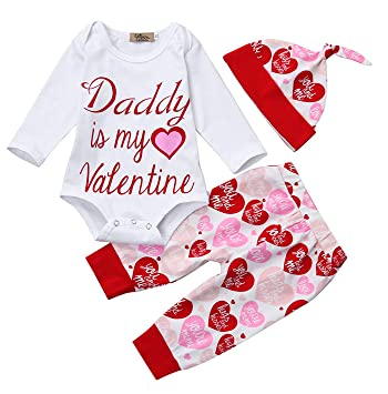 08df944f283 Newborn Baby Girls Outfit Valentine s Day Romper Jumpsuit + Heart Print  Long Pants Cute Beanie 3pcs