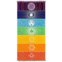"Mofeng Cotton Microfiber Fabric Bohemia India Mandala Beach Blanket 7 Chakra Rainbow Wall Hanging Tapestry Beach Towel Yoga Mat Bath With Tassels,59""x30"""