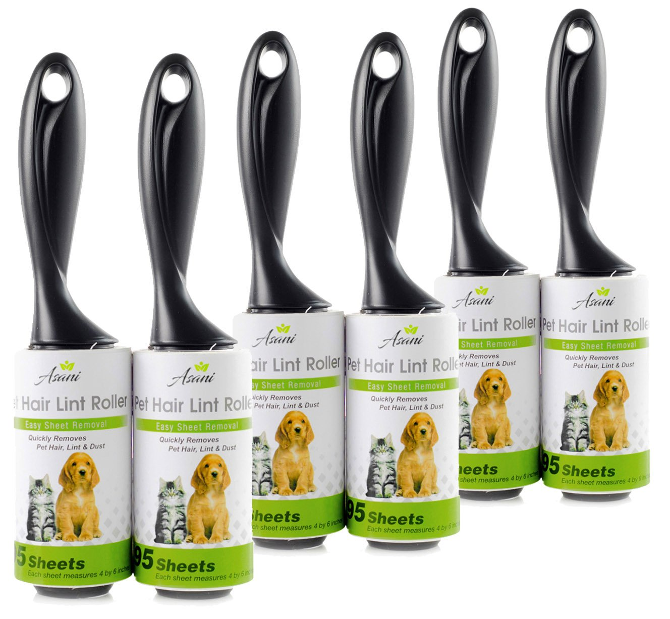 Pet Hair Lint Roller Stick w/ Super Sticky Adhesive (6Pack) | Residue-Free Pet Hair Remover Tool | Easy-Tear Sheets | Professional Lint Rollers for Clothes, Furniture, Upholstery | 570 Sheets in Total by Asani