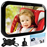 Baby Car Mirror, Tinabless Infant Rear View Backseat Mirror - Wide Angle, Secure&Shatterproof, 360° Rotation - Rear Facing Mirror