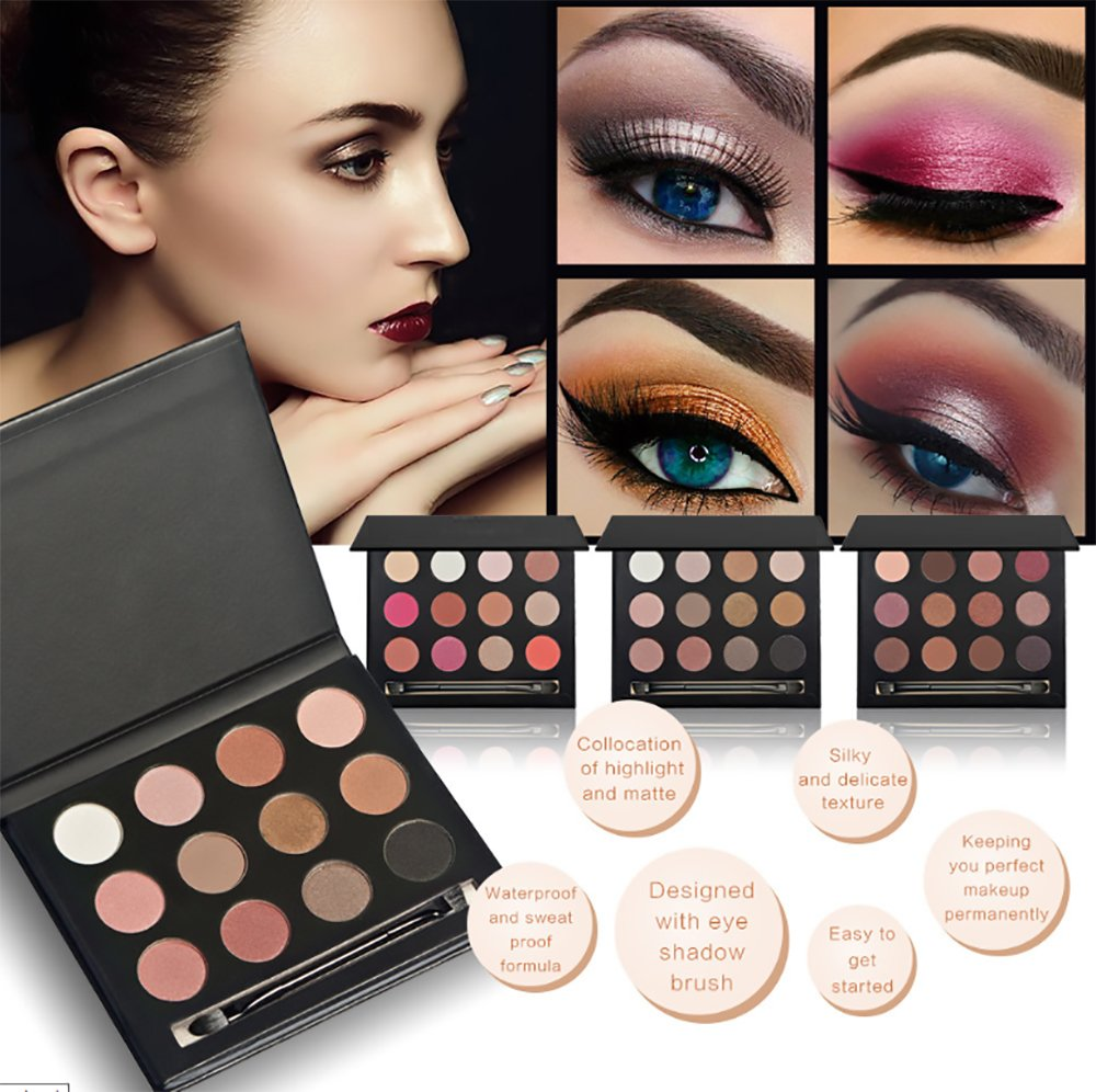 vinmax Metallic Shimmer Eye Shadow Palette,Makeup Matte/Shimmer Glitter 12 Colors Eye Shadows Warm Natural Waterproof Eye Shadows Set (1#)