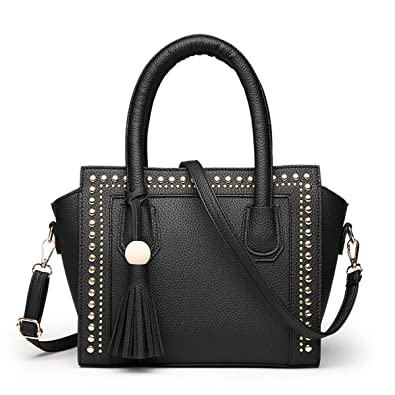 f5ee84af52027 Amazon.com: PERHAPS U Fashion Handbags for Womens Leather Ladies Top Handle  Satchel Purses Designer Tote Shoulder Bag With Tassel(Black): Shoes