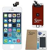 For iPhone 5 フロントパネル A+ランク デジタイザ タッチパネル LCD 液晶セット ブラック アイフォーン修理バーツ 受話器の防塵ネット 交換工具付き(白)