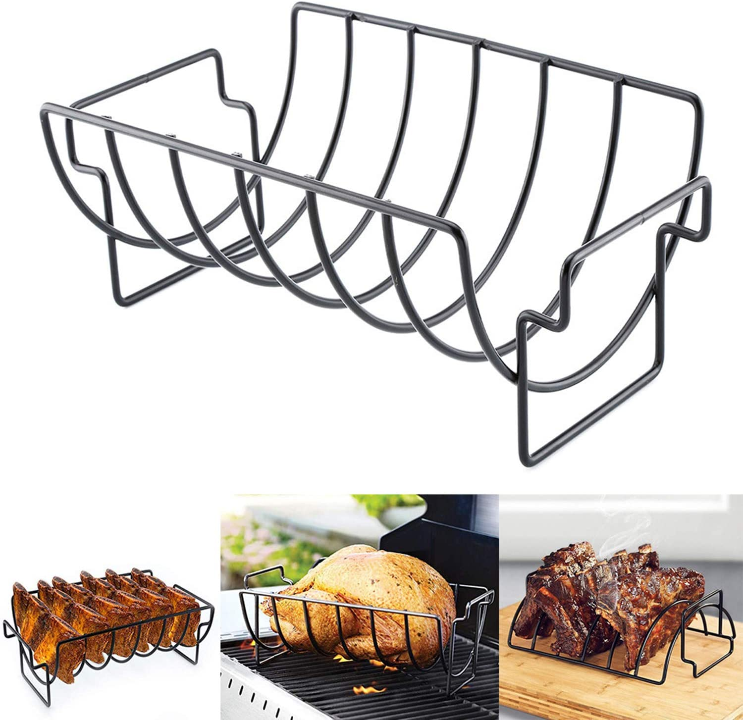 Excursion Sports Chicken Wing & Leg Rack for Grill Smoker or Oven - Stainless Steel Vertical Roaster Stand & Drip Pan for Cooking Vegetables in BBQ Juices - Safe Barbecue Accessories