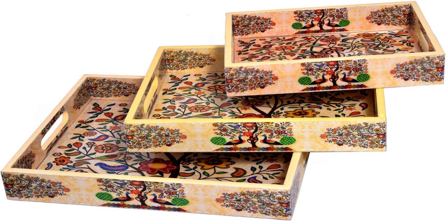 Jaipur - Juego de 3 bandejas de Madera Decorativas Hechas a Mano ...