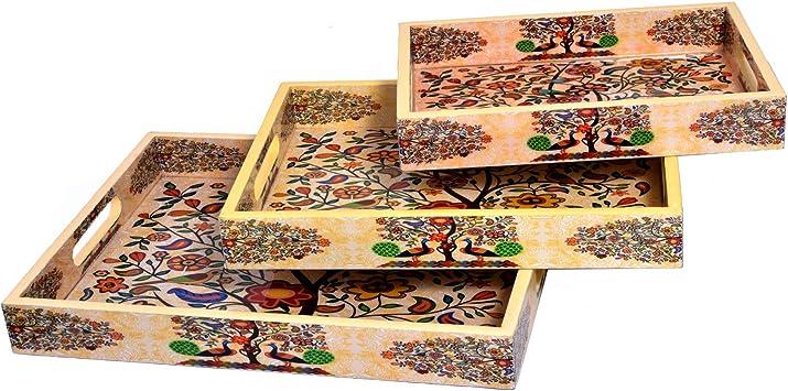 Jaipur - Juego de 3 bandejas de Madera Decorativas Hechas a Mano para decoración de Mesa, decoración del hogar, Comedor y Servir: Amazon.es: Hogar