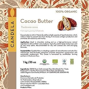 2.2lbs (35oz) Premium Organic Raw Cacao Butter/Cocoa Butter. Fair Trade. Food Grade. Unrefined. Candela Peru.