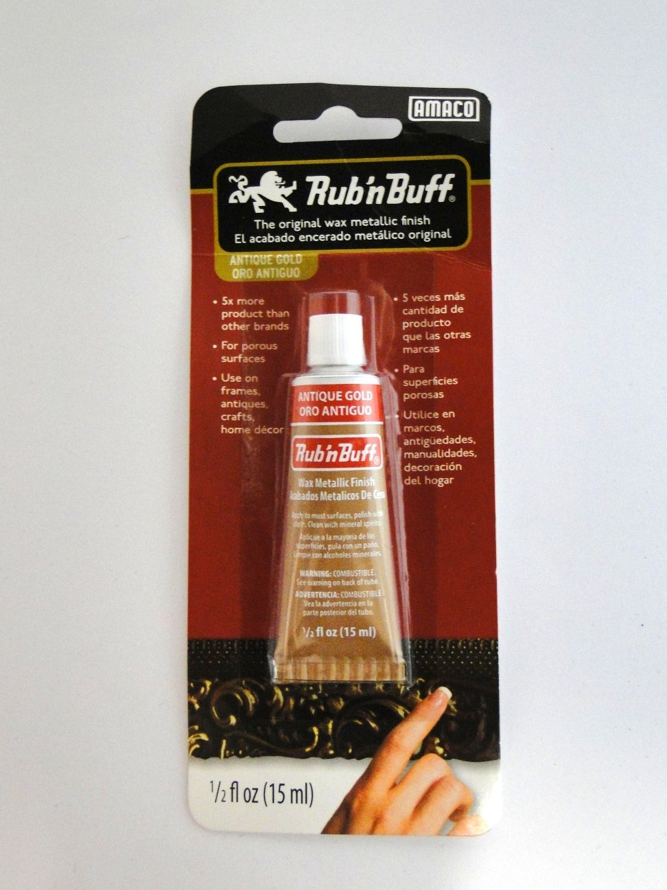 Antique Gold Rub N Buff Original Metallic Gilding Wax Based Antiquing Decorating Crafts 15ml (Pack of 3)