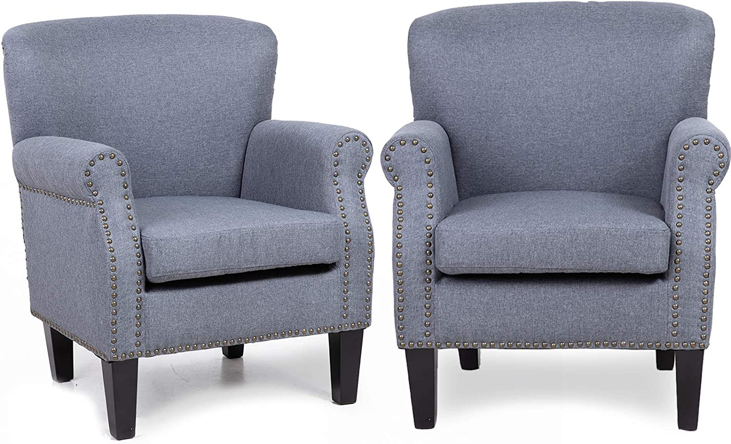 Modern Accent Chair Arm Chair, Lovinouse Mid Century Comfy Upholstered Single Sofa Furniture for Bedroom Living Room, Office, Grey (2 PC)