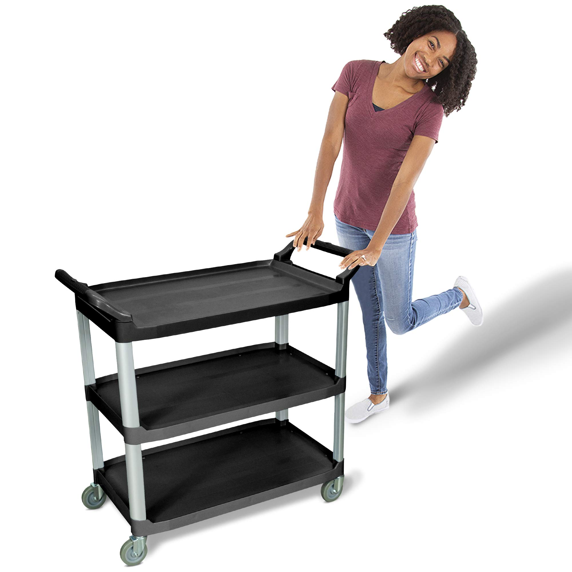 Tubstr Large Serving Cart with Three Shelves | Dual Handles & Rolling Casters - Supports up to 300 lbs.! Service Utility Cart Perfect for Food Service, Warehouse, Healthcare, School and More!