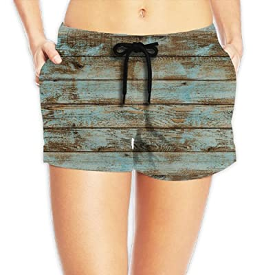 Tvsuh-u Old Wood Women's Beach Short Board Shorts Quick Dry Swim Trunk