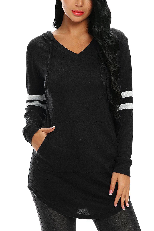 FISOUL Women's Hoodies Fashion Long Sleeve Pocket Pullover Hoodie Sweatshirts with Drawstring Hood XL Black