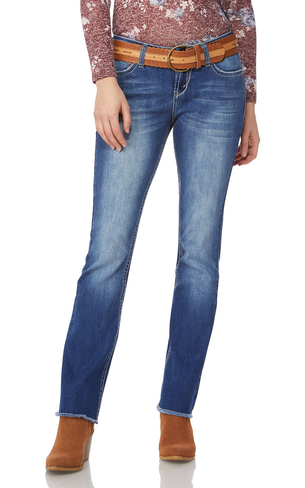 WallFlower Women's Juniors Belted Legendary Bootcut Jeans in Michelle, 9