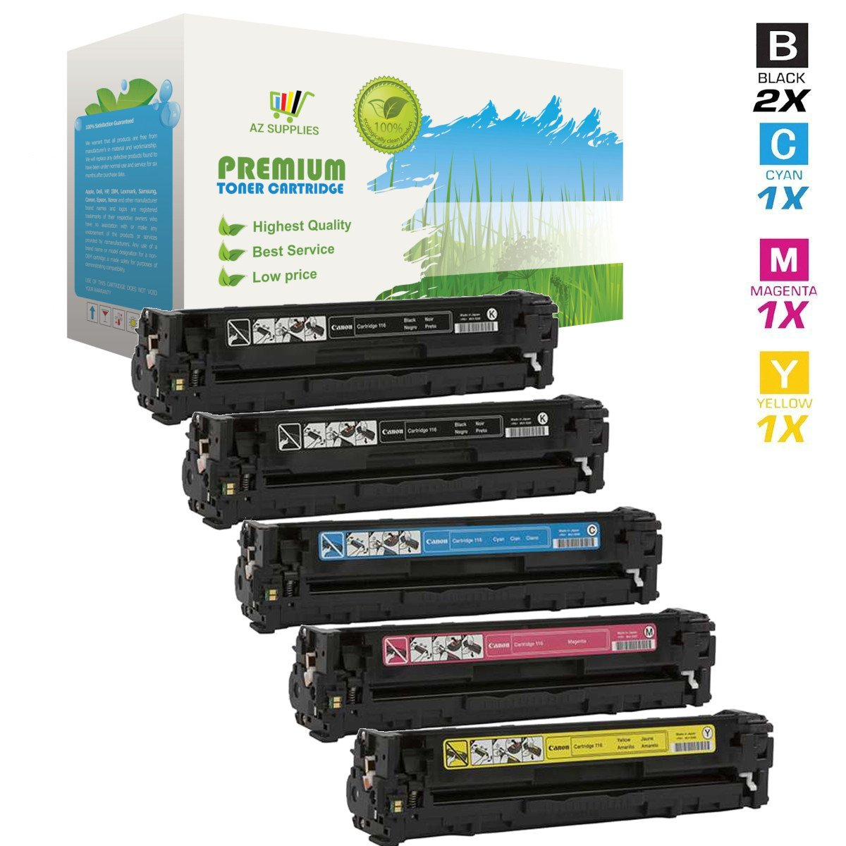 AZ Supplies © Compatible Replacement Toner Cartridge for Canon 116, 5 Color Set (2 x Black, Cyan, Magenta, Yellow) Toner for use in Canon i-Sensys LBP5050N, Image Class MF8030CN, MF8050CN, imageCLASS MF8080CW, HP Color Laser Jet CM1312nfi MFP, CP1215, CP