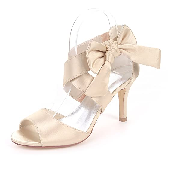 73026f2af65 Flower-Ager Z9920-16 Women Peep Toe Stiletto High Heeled Strappy Sandals  Bow Buckle Satin Wedding Party Bridal Shoes  Amazon.co.uk  Clothing