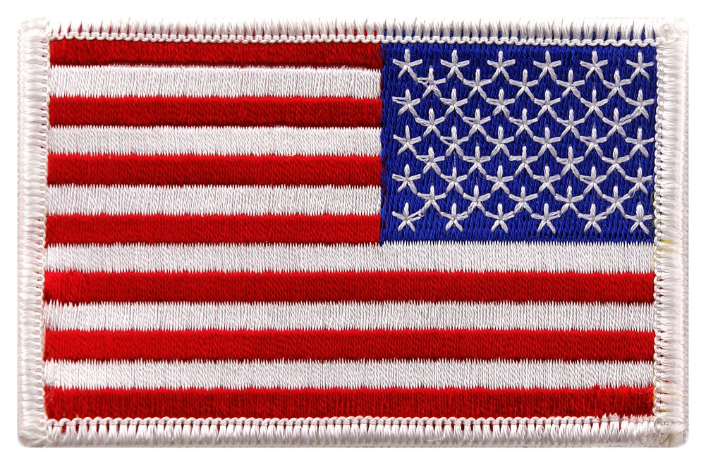 Amazon.com  American Flag Embroidered Patch Reverse White Border US USA  Iron-On Emblem  Arts fc7d8c85122a