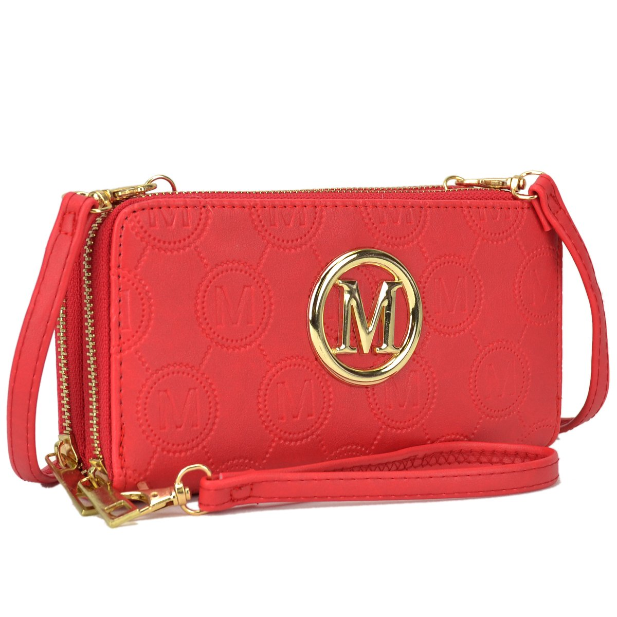 1083 Coral Functional Lightweight Crossbody bags for Women Simple Double Zip Around Should Bags Wallet Card Case Holder Organizer