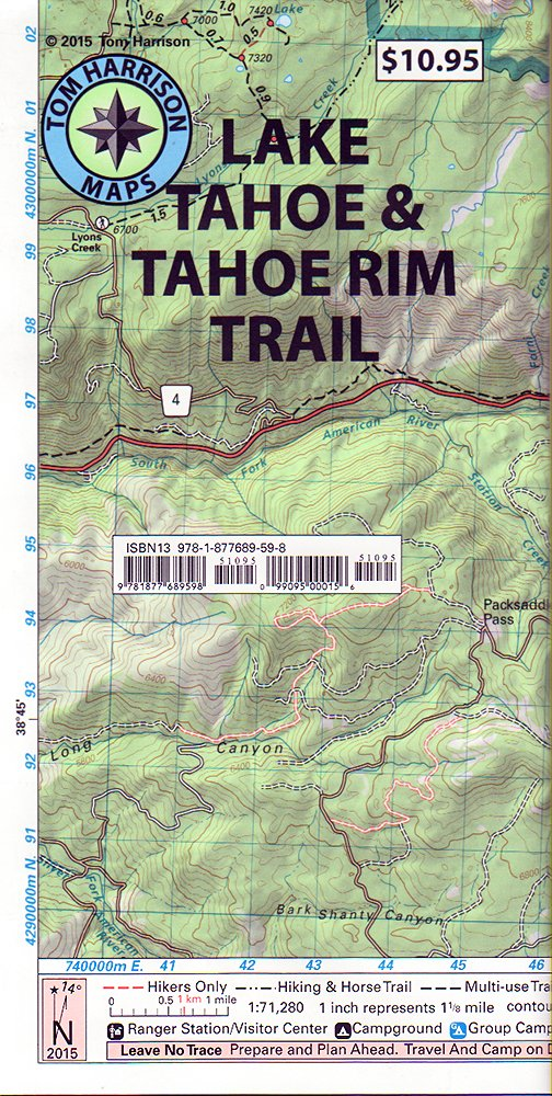 Lake Tahoe Tahoe Rim Trails Tom Harrison Maps Tom Harrison