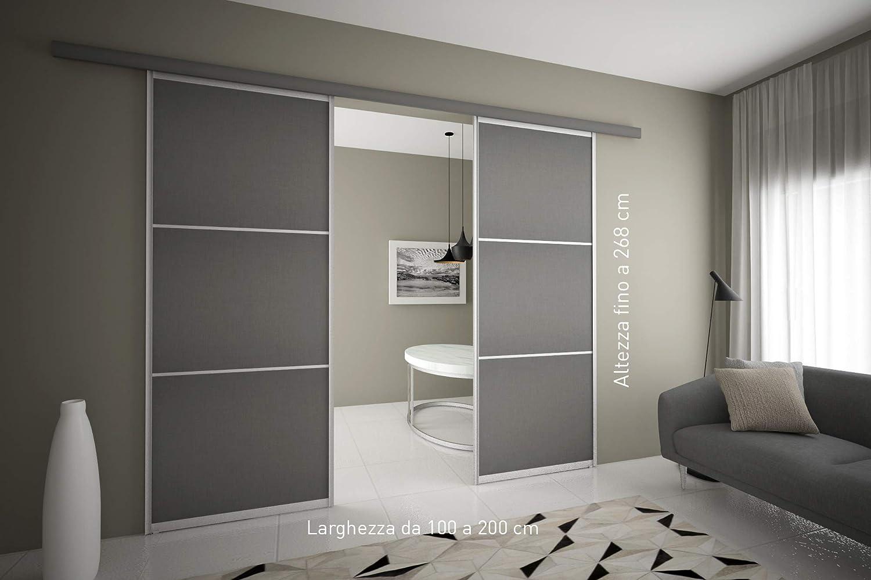 Puerta corredera exterior compartimento de 2 puertas a medida. Longitud hasta 200 cm, altura hasta 268 cm.: Amazon.es: Hogar