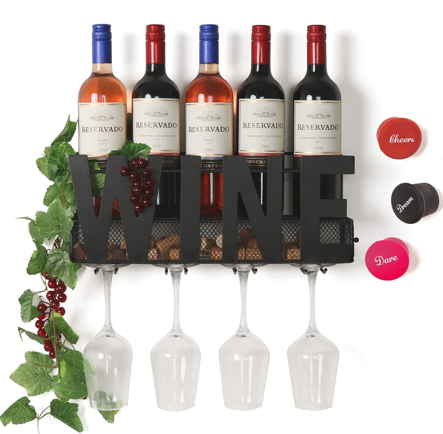 SODUKU Wall Mounted Metal Wine Rack 4 Long Stem Glass Holder & Wine Cork Storage Wine by SODUKU