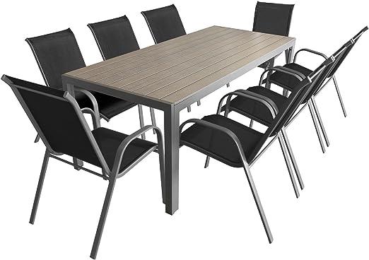 9 Teiliges Gartenmobel Set Aluminium Polywood Gartentisch 205x90cm