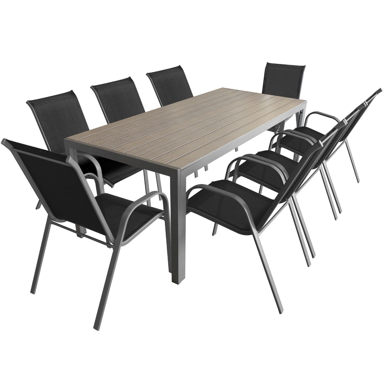 9-teiliges Gartenmöbel Set Aluminium Polywood Gartentisch 205x90cm + ...