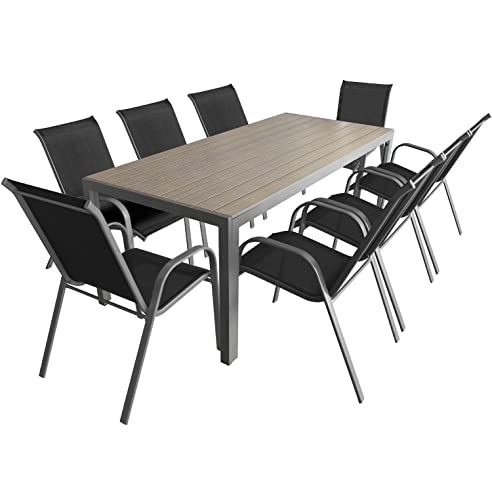 Gartenmöbel set alu 9 teilig  9-teiliges Gartenmöbel Set Aluminium Polywood Gartentisch 205x90cm ...