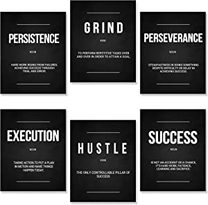 Inspirational Wall Art Motivational Wall Art Decoration Office Wall Decor, Wall Art Decor for Bedroom Living room,Positive Quotes & Sayings Posters (Set of 6, 8X10in, Unframed)