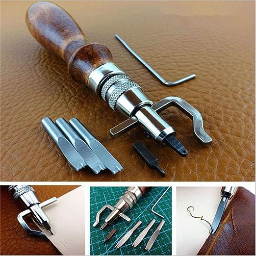 Marron Triamisu Leather Craft Edge Press Kit R/églable en Cuir Groover Crease Tool Outil de Couture pour Cuir Outils de Travail pour la Couture en Cuir