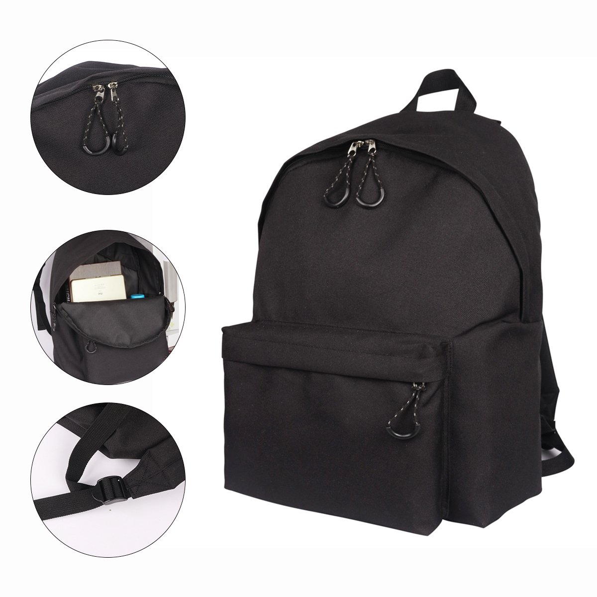 e6eb62bedd5 Amazon.com  ThiKin Lightweight Backpack Boys   Girls Junior High School  Bags Student Bookbags (TK25-Black-1)  YOUNGERBABY