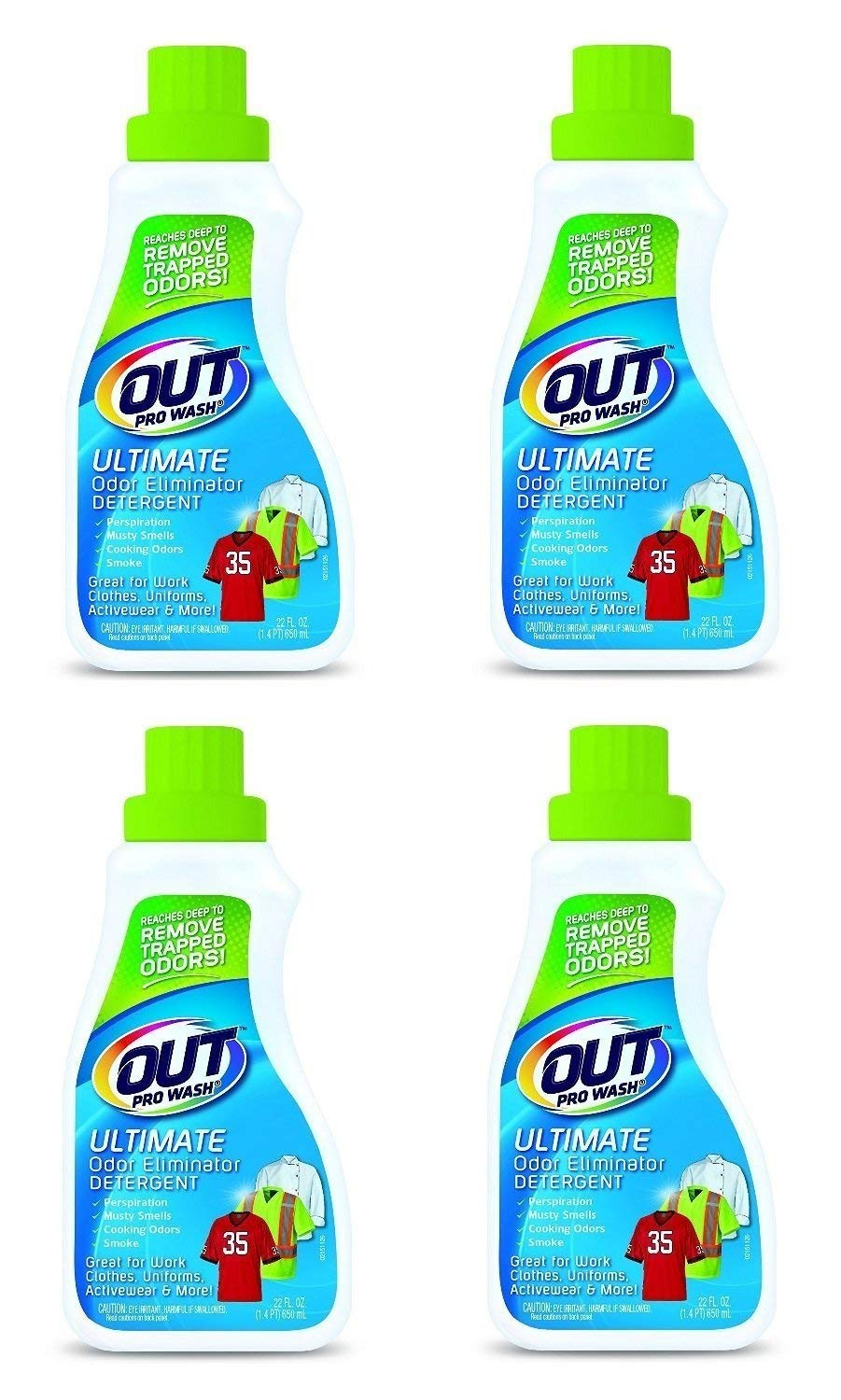 OUT OE06N PRO WASH WORKWEAR Odor Eliminator Detergent 22 Oz (4 Pack (22 oz)) by OUT