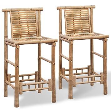 Vidaxl 2 Bamboo Bar Stools Chair Seat High Backrest Footrest Patio