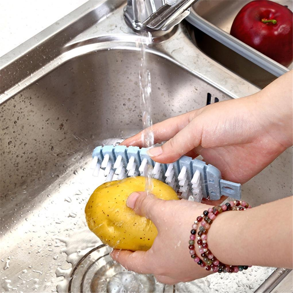 WensLTD Vegetable Fruit Brush Potato Easy Cleaning Tools Veggie Scrubber Kitchen Gadgets (Orange)