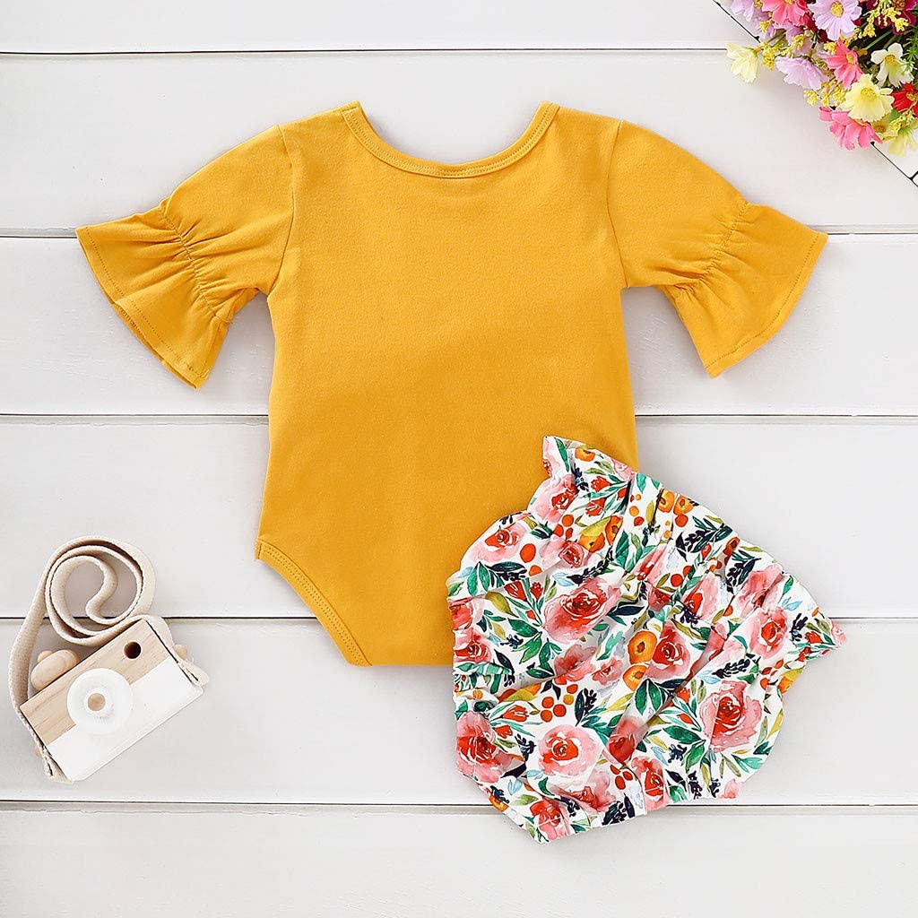 Toddler Newborn Kids Baby Girls 2Pcs Outfits Clothes,Flare Sleeve Romper Tops+Floral Print Shorts Sets