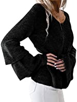 Simplee Apparel Women's Autumn Winter Long Sleeve Pullover Sweater with Ruffles