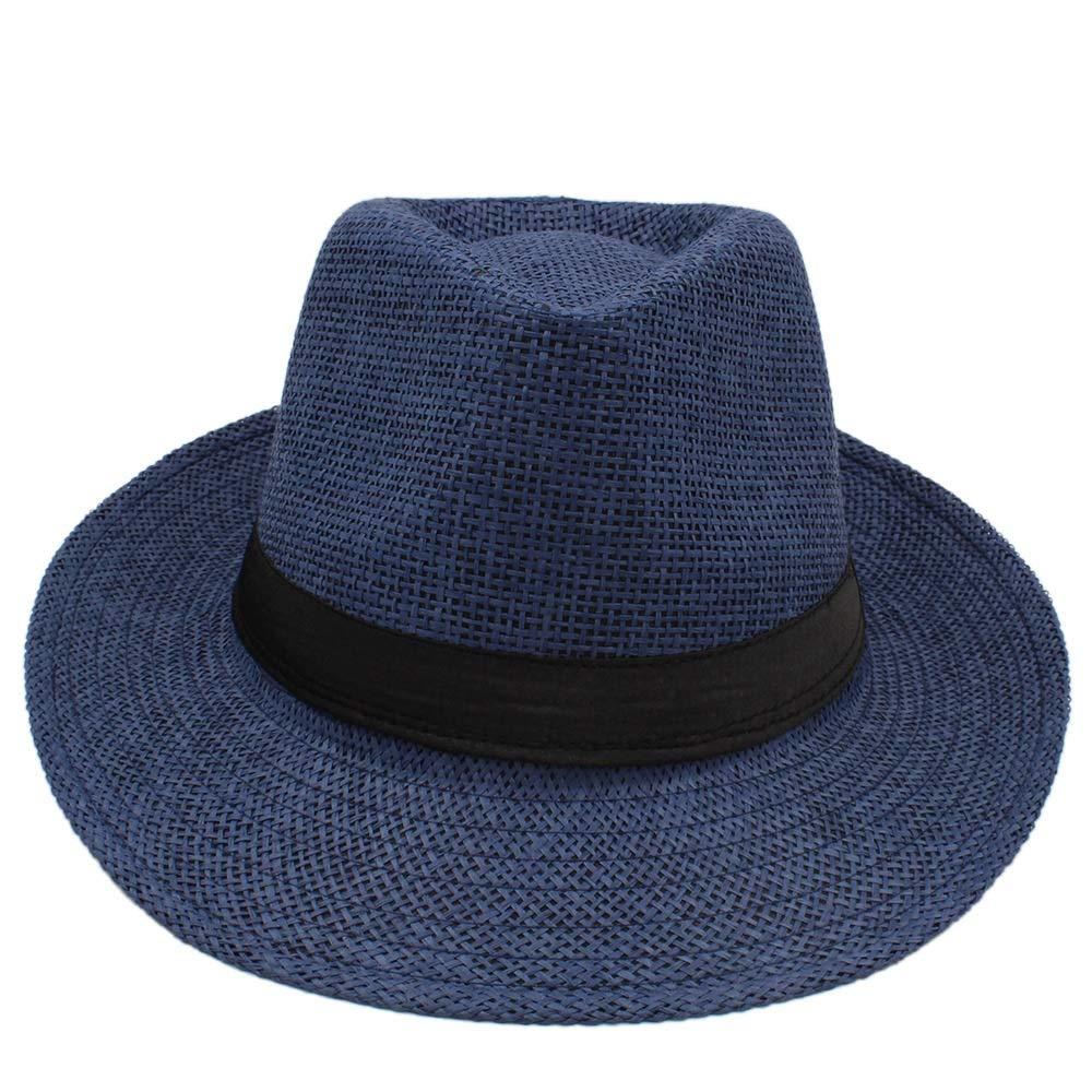 Winter Spring Mens Hats Casual Solid Plain Black Grey Coffee Fedora Hats Retro Derby Jazz Hats British Trilby Hats (Color : Dark Blue, Size : 56-58CM) dig dog bone