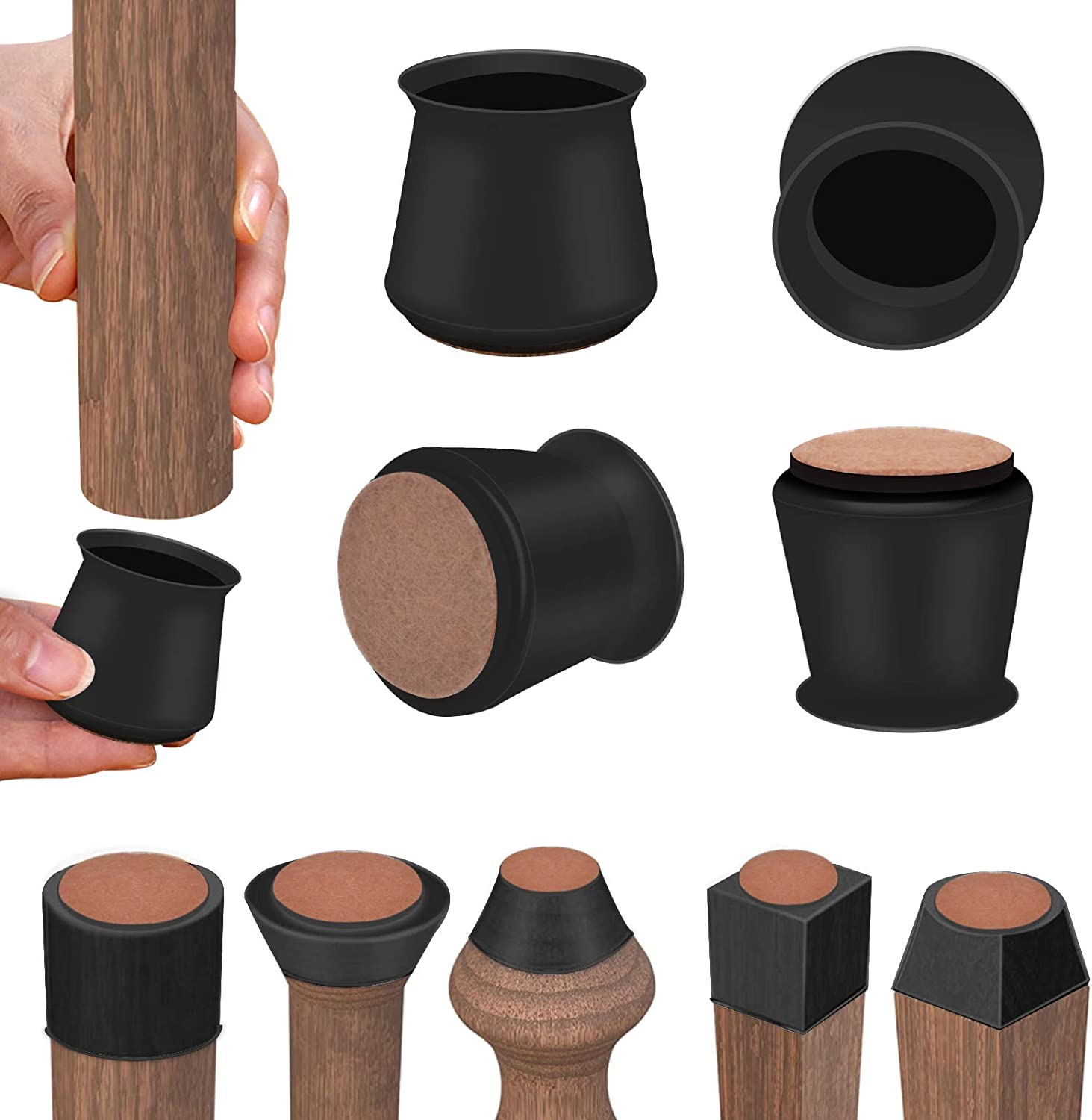 Chair Leg Protectors for Hardwood Floors 1 inch Black, Round&Square Silicone Chair Leg Covers for Mute Furniture Moving|Elastic Furniture Silicone Protection Cover Black 16pcs