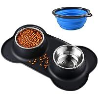 Bonve Pet 2x400ML Comedero para Perro Gato y Mascotas de Acero Inoxidable con Comedero Plegable, Base de Silicona Antideslizante, 2 Cuencos Comedero para Comida y Agua