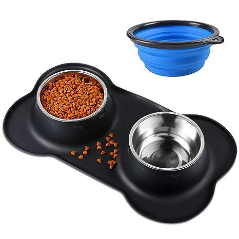 Bonve Pet Comedero para Perro Gato y Mascotas de Acero Inoxidable (2 x 400ml) con Comedero Plegable, Base de Silicona Antideslizante, 2 Cuencos ...
